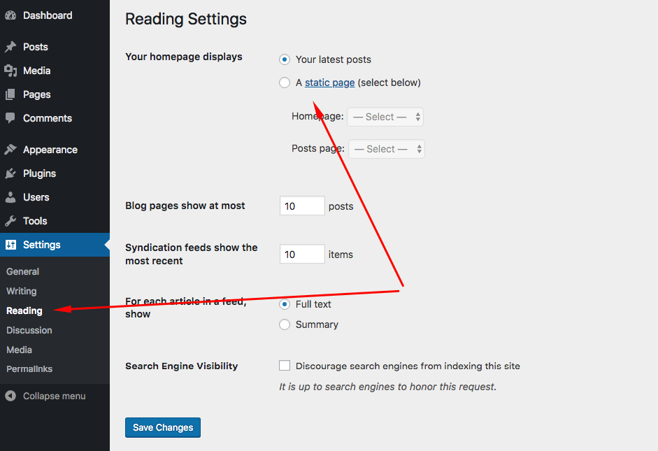 Configure the Reading Settings