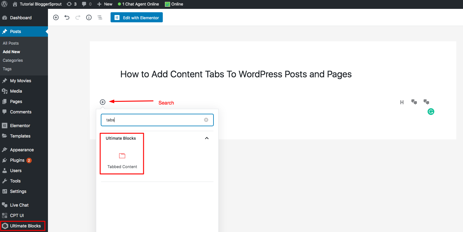 how to add content tabs to wordpress