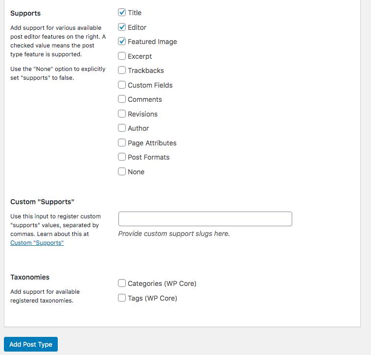 Custom Post Types in WordPress support