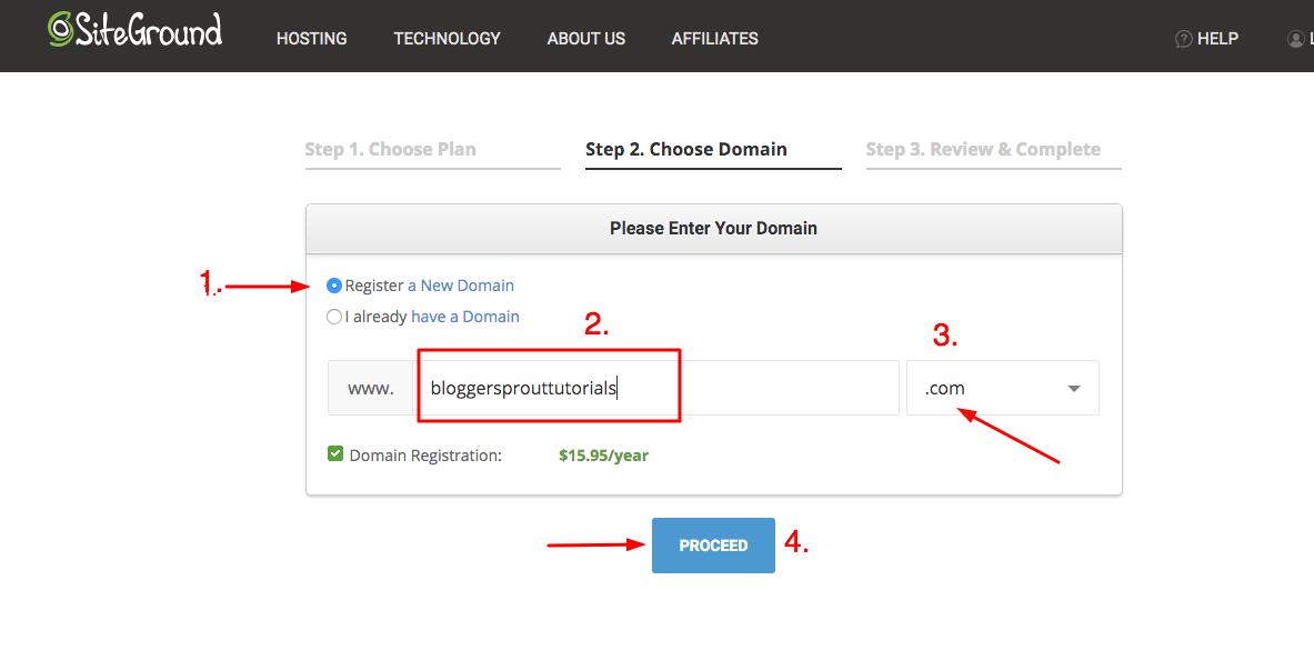 start a blog siteground domain 1